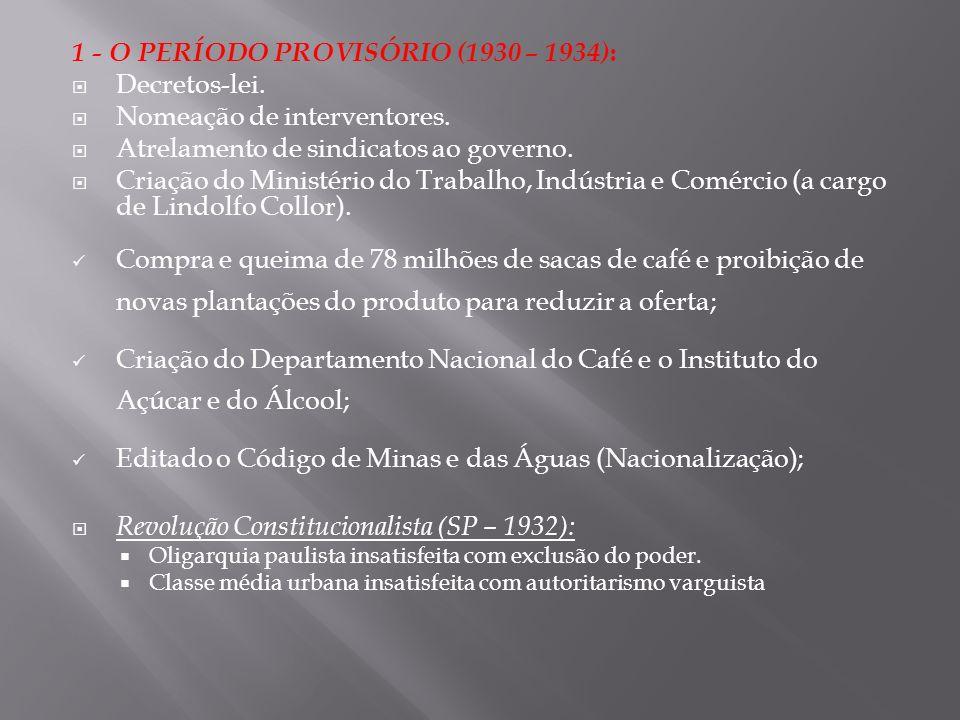 1 - O PERÍODO PROVISÓRIO (1930 – 1934) : Decretos-lei. Nomeação de interventores. Atrelamento de sindicatos ao governo. Criação do Ministério do Traba