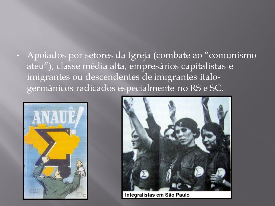 ANL (Aliança Nacional Libertadora): Aliança de esquerda reunindo comunistas, socialistas, democratas e simpatizantes de esquerda em geral.