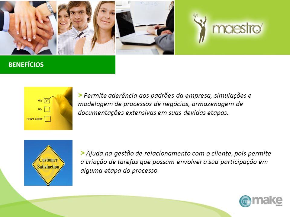 > Permite aderência aos padrões da empresa, simulações e modelagem de processos de negócios, armazenagem de documentações extensivas em suas devidas e