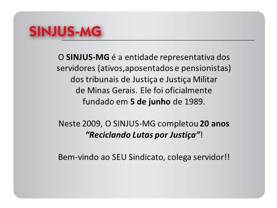 Algumas conquistas do Sindicato nos últimos cinco anos Ampliação da licença-maternidade para seis meses (2009); Reajuste de 17,5% (2009 – janeiro e julho - 2ª parcela, ainda não paga); Vale-lanche reajustado (2008); Reajuste no auxílio-creche (48%) – em 2008; Publicação dos editais da Promoção Vertical de 2006, 2007 e 2008; Regularização das Promoções atrasadas de 2004 a 2005 (efetivada em 2008); Reposicionamento na carreira (6 padrões) – aumento médio 21% (2007); Realização do Concurso Público (reivindicado em pautas negociadas com o TJMG, e em mobilizações constantes) - 2007; Manutenção das férias (60 dias) - Ação no Supremo Tribunal Federal (2007); Proibição da terceirização nas atividades-fim (2007); Reajuste de 15% (2006); Implementação do Plano de Carreiras (PC) - em andamento, há ações para melhorias no PC); Vale-lanche reajustado e ampliado (81% - 2004); Pagamento da URV; Entre outras.