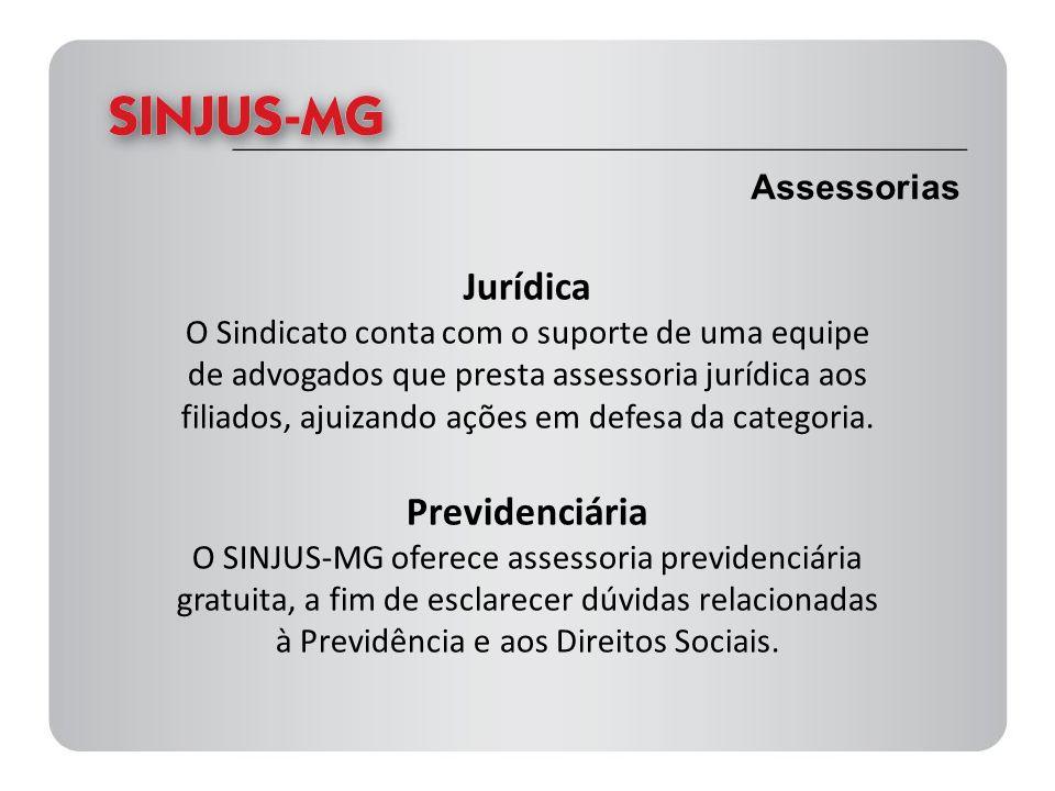 Assessorias Jurídica O Sindicato conta com o suporte de uma equipe de advogados que presta assessoria jurídica aos filiados, ajuizando ações em defesa