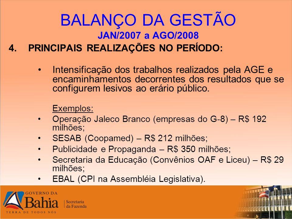 BALANÇO DA GESTÃO JAN/2007 a AGO/2008 4.PRINCIPAIS REALIZAÇÕES NO PERÍODO: Intensificação dos trabalhos realizados pela AGE e encaminhamentos decorren