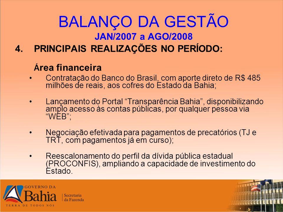 BALANÇO DA GESTÃO JAN/2007 a AGO/2008 4.PRINCIPAIS REALIZAÇÕES NO PERÍODO: Á rea financeira Contratação do Banco do Brasil, com aporte direto de R$ 48