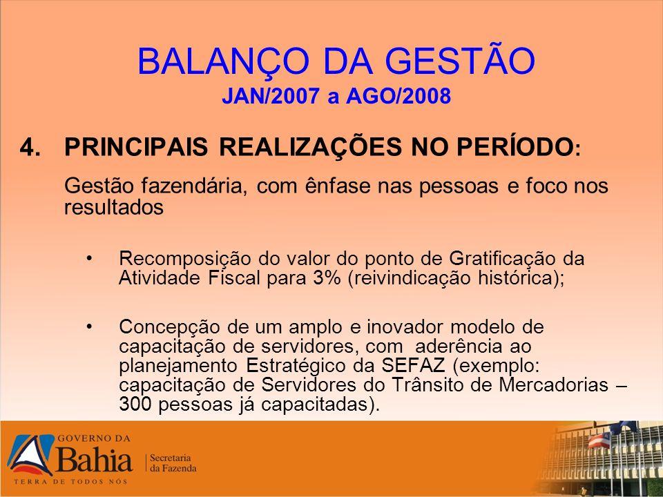 BALANÇO DA GESTÃO JAN/2007 a AGO/2008 4.PRINCIPAIS REALIZAÇÕES NO PERÍODO : Gestão fazendária, com ênfase nas pessoas e foco nos resultados Recomposiç