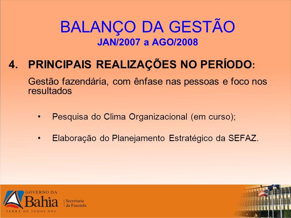 BALANÇO DA GESTÃO JAN/2007 a AGO/2008 4.PRINCIPAIS REALIZAÇÕES NO PERÍODO : Gestão fazendária, com ênfase nas pessoas e foco nos resultados Pesquisa d