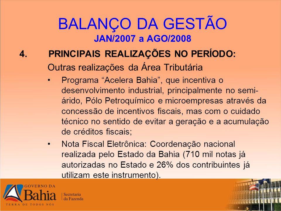 BALANÇO DA GESTÃO JAN/2007 a AGO/2008 4. PRINCIPAIS REALIZAÇÕES NO PERÍODO: Outras realizações da Área Tributária Programa Acelera Bahia, que incentiv