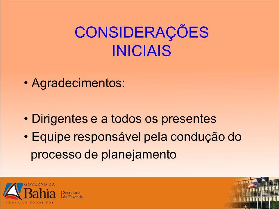 CONSIDERAÇÕES INICIAIS Agradecimentos: Dirigentes e a todos os presentes Equipe responsável pela condução do processo de planejamento
