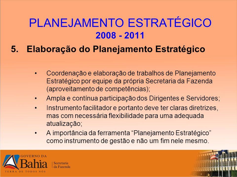 PLANEJAMENTO ESTRATÉGICO 2008 - 2011 5.Elaboração do Planejamento Estratégico Coordenação e elaboração de trabalhos de Planejamento Estratégico por eq