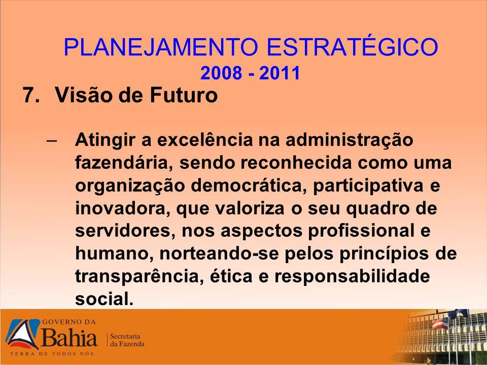 PLANEJAMENTO ESTRATÉGICO 2008 - 2011 7.Visão de Futuro –Atingir a excelência na administração fazendária, sendo reconhecida como uma organização democ