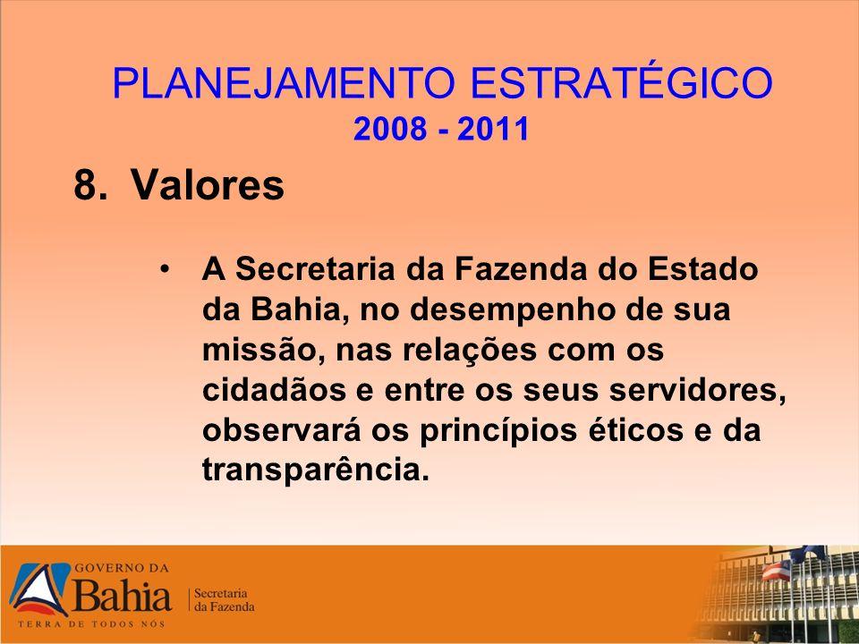 PLANEJAMENTO ESTRATÉGICO 2008 - 2011 8.Valores A Secretaria da Fazenda do Estado da Bahia, no desempenho de sua missão, nas relações com os cidadãos e