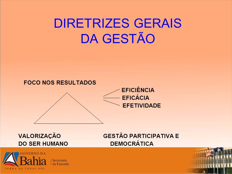 DIRETRIZES GERAIS DA GESTÃO FOCO NOS RESULTADOS EFICIÊNCIA EFICÁCIA EFETIVIDADE VALORIZAÇÃO GESTÃO PARTICIPATIVA E DO SER HUMANO DEMOCRÁTICA