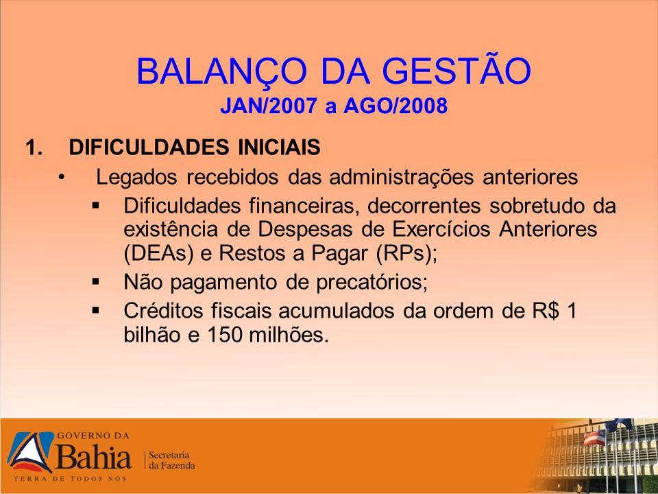 BALANÇO DA GESTÃO JAN/2007 a AGO/2008 1.DIFICULDADES INICIAIS Legados recebidos das administrações anteriores Dificuldades financeiras, decorrentes so