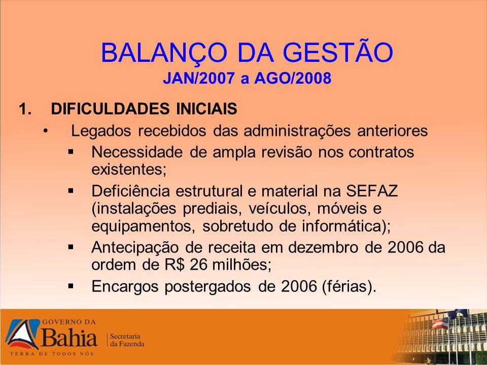 BALANÇO DA GESTÃO JAN/2007 a AGO/2008 4.PRINCIPAIS REALIZAÇÕES NO PERÍODO : Gestão fazendária, com ênfase nas pessoas e foco nos resultados Recomposição do valor do ponto de Gratificação da Atividade Fiscal para 3% (reivindicação histórica); Concepção de um amplo e inovador modelo de capacitação de servidores, com aderência ao planejamento Estratégico da SEFAZ (exemplo: capacitação de Servidores do Trânsito de Mercadorias – 300 pessoas já capacitadas).