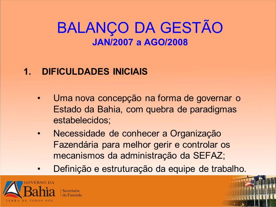 BALANÇO DA GESTÃO JAN/2007 a AGO/2008 1.DIFICULDADES INICIAIS Uma nova concepção na forma de governar o Estado da Bahia, com quebra de paradigmas esta