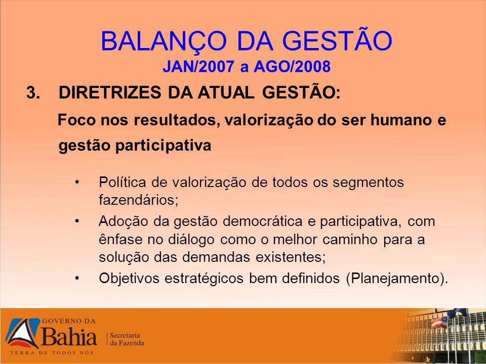 BALANÇO DA GESTÃO JAN/2007 a AGO/2008 3.DIRETRIZES DA ATUAL GESTÃO: Foco nos resultados, valorização do ser humano e gestão participativa Política de