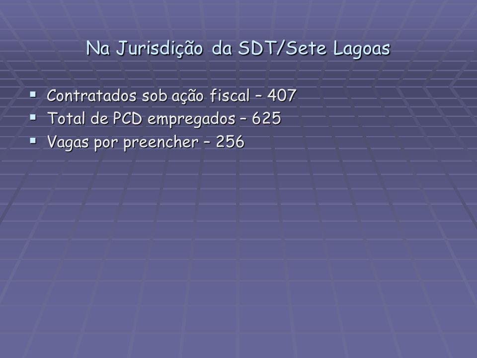 Na Jurisdição da SDT/Sete Lagoas Contratados sob ação fiscal – 407 Contratados sob ação fiscal – 407 Total de PCD empregados – 625 Total de PCD empreg