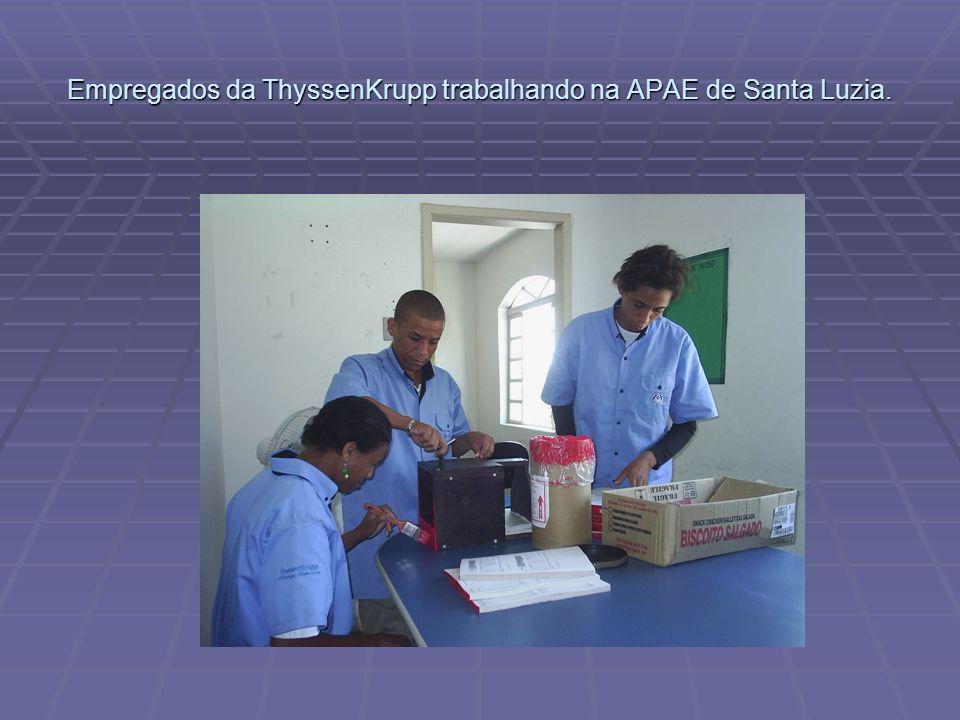 Empregados da ThyssenKrupp trabalhando na APAE de Santa Luzia.