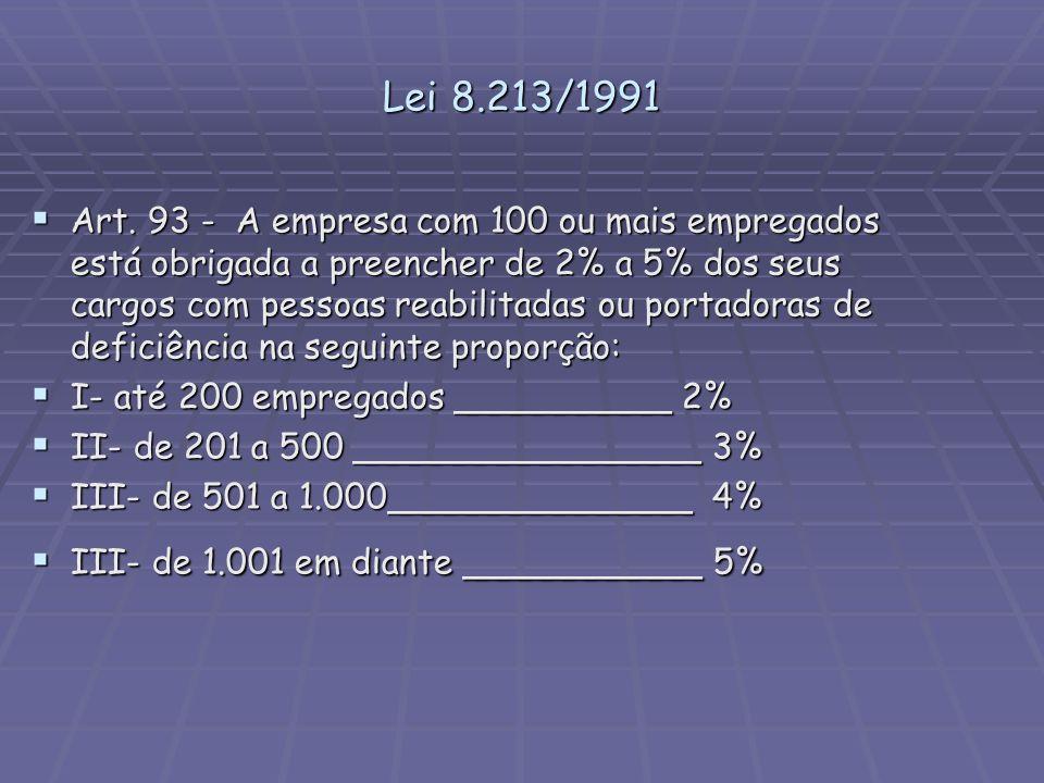 Lei 8.213/1991 Art. 93 - A empresa com 100 ou mais empregados está obrigada a preencher de 2% a 5% dos seus cargos com pessoas reabilitadas ou portado