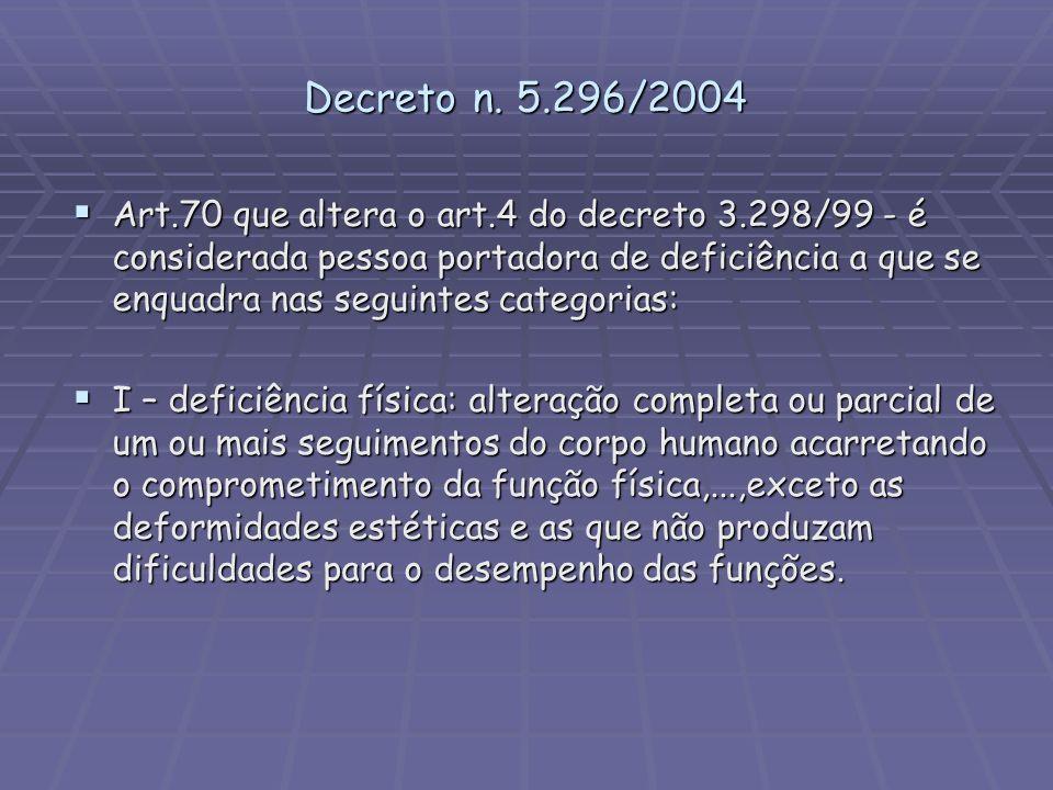Decreto n. 5.296/2004 Art.70 que altera o art.4 do decreto 3.298/99 - é considerada pessoa portadora de deficiência a que se enquadra nas seguintes ca
