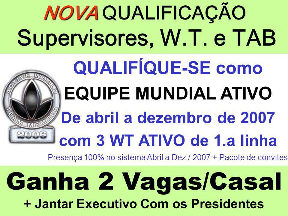NOVA NOVA QUALIFICAÇÃO Supervisores, W.T. e TAB QUALIFÍQUE-SE como EQUIPE MUNDIAL ATIVO De abril a dezembro de 2007 com 3 WT ATIVO de 1.a linha Presen