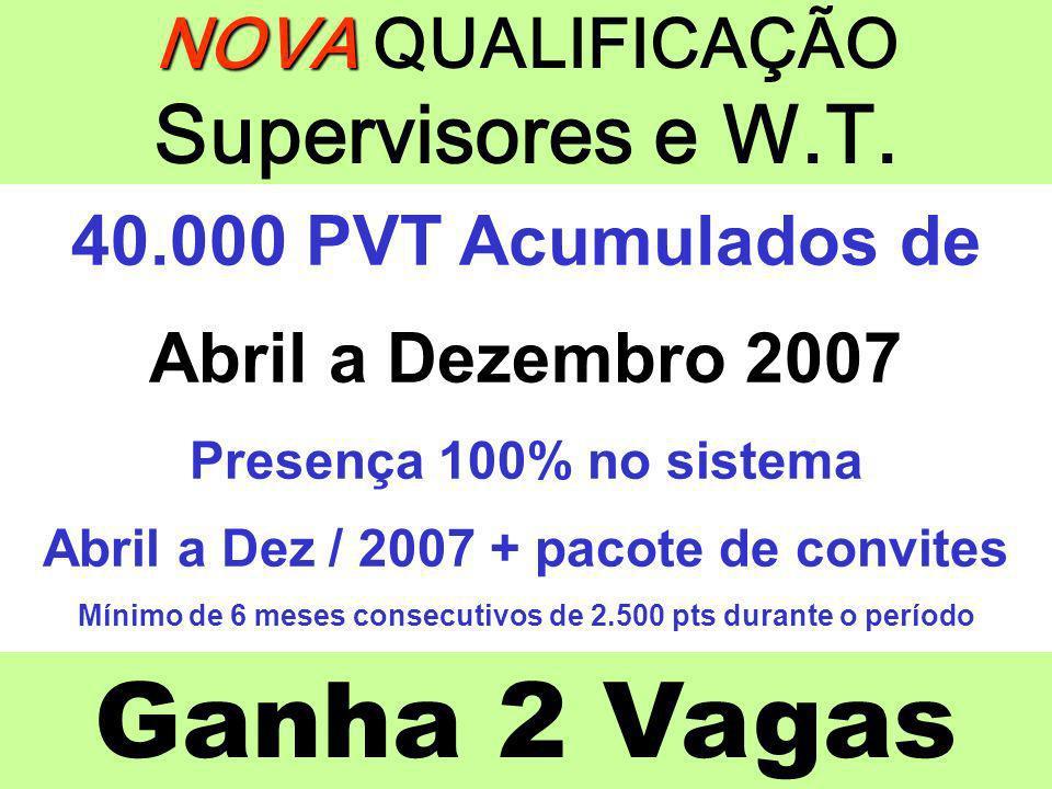 Ganha 2 Vagas NOVA NOVA QUALIFICAÇÃO Supervisores e W.T. 40.000 PVT Acumulados de Abril a Dezembro 2007 Presença 100% no sistema Abril a Dez / 2007 +