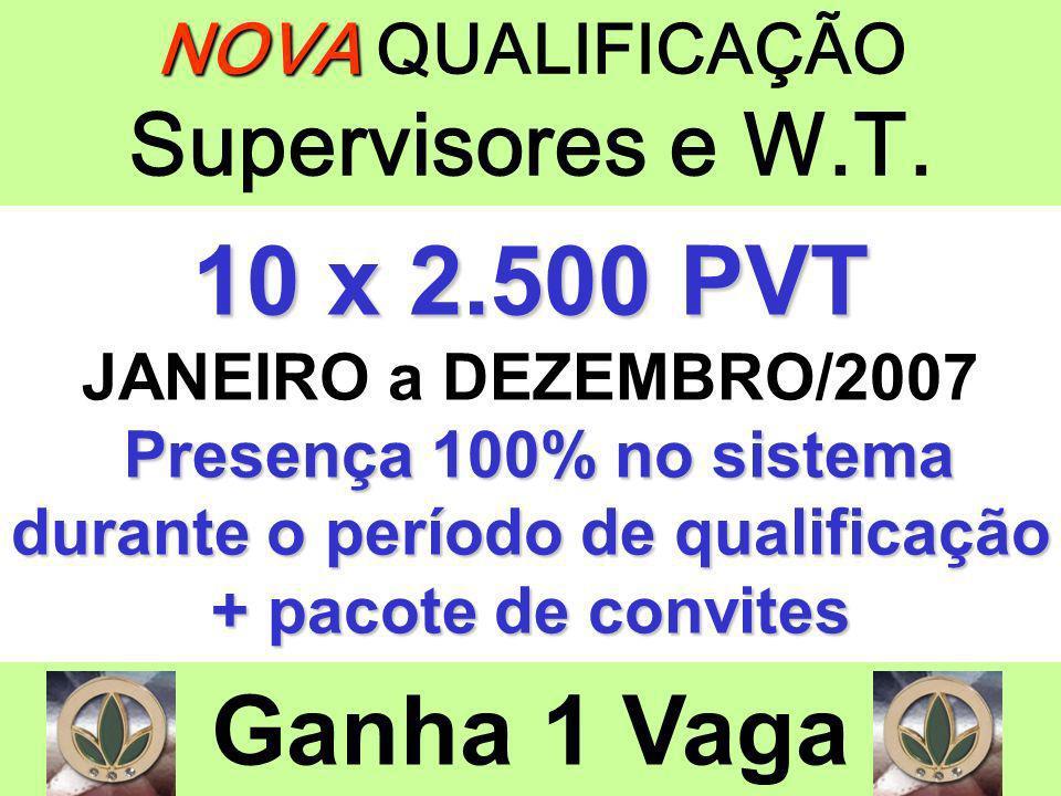 NOVA NOVA QUALIFICAÇÃO Supervisores e W.T. 10 x 2.500 PVT JANEIRO a DEZEMBRO/2007 Presença 100% no sistema durante o período de qualificação + pacote