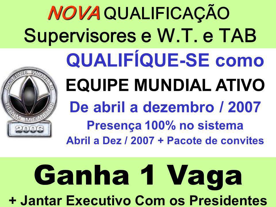 Ganha 1 Vaga + Jantar Executivo Com os Presidentes NOVA NOVA QUALIFICAÇÃO Supervisores e W.T. e TAB QUALIFÍQUE-SE como EQUIPE MUNDIAL ATIVO De abril a