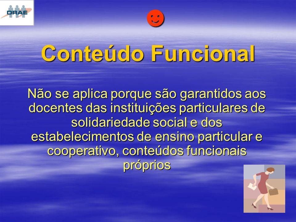 Conteúdo Funcional Não se aplica porque são garantidos aos docentes das instituições particulares de solidariedade social e dos estabelecimentos de ensino particular e cooperativo, conteúdos funcionais próprios