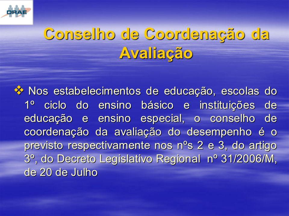 Conselho de Coordenação da Avaliação Nos estabelecimentos de educação, escolas do 1º ciclo do ensino básico e instituições de educação e ensino especial, o conselho de coordenação da avaliação do desempenho é o previsto respectivamente nos nºs 2 e 3, do artigo 3º, do Decreto Legislativo Regional nº 31/2006/M, de 20 de Julho Nos estabelecimentos de educação, escolas do 1º ciclo do ensino básico e instituições de educação e ensino especial, o conselho de coordenação da avaliação do desempenho é o previsto respectivamente nos nºs 2 e 3, do artigo 3º, do Decreto Legislativo Regional nº 31/2006/M, de 20 de Julho