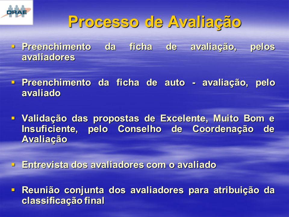 Processo de Avaliação Preenchimento da ficha de avaliação, pelos avaliadores Preenchimento da ficha de avaliação, pelos avaliadores Preenchimento da ficha de auto - avaliação, pelo avaliado Preenchimento da ficha de auto - avaliação, pelo avaliado Validação das propostas de Excelente, Muito Bom e Insuficiente, pelo Conselho de Coordenação de Avaliação Validação das propostas de Excelente, Muito Bom e Insuficiente, pelo Conselho de Coordenação de Avaliação Entrevista dos avaliadores com o avaliado Entrevista dos avaliadores com o avaliado Reunião conjunta dos avaliadores para atribuição da classificação final Reunião conjunta dos avaliadores para atribuição da classificação final