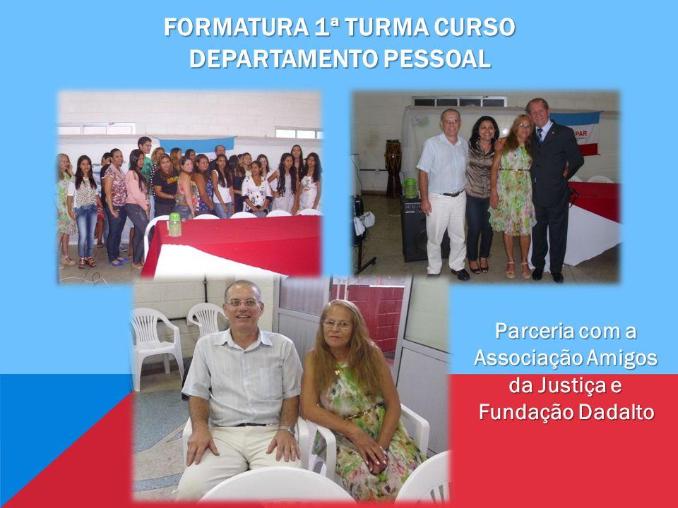 FORMATURA 1ª TURMA CURSO DEPARTAMENTO PESSOAL Parceria com a Associação Amigos da Justiça e Fundação Dadalto