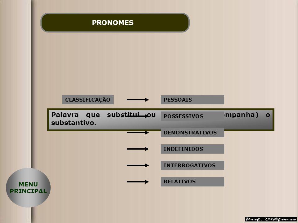 PRONOMES Palavra que substitui ou determina (acompanha) o substantivo. CLASSIFICAÇÃOPESSOAIS POSSESSIVOS DEMONSTRATIVOS INDEFINIDOS INTERROGATIVOS REL