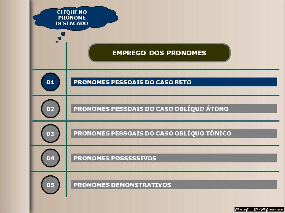 01 PRONOMES PESSOAIS DO CASO RETO 02 03 04 EMPREGO DOS PRONOMES PRONOMES PESSOAIS DO CASO OBLÍQUO ÁTONO PRONOMES PESSOAIS DO CASO OBLÍQUO TÔNICO PRONOMES POSSESSIVOS 05 PRONOMES DEMONSTRATIVOS CLIQUE NO PRONOME DESTACADO