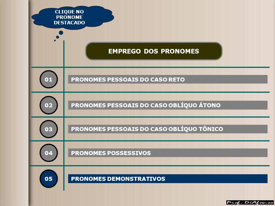 01 PRONOMES PESSOAIS DO CASO RETO 02 03 04 EMPREGO DOS PRONOMES PRONOMES PESSOAIS DO CASO OBLÍQUO ÁTONO PRONOMES PESSOAIS DO CASO OBLÍQUO TÔNICO PRONO