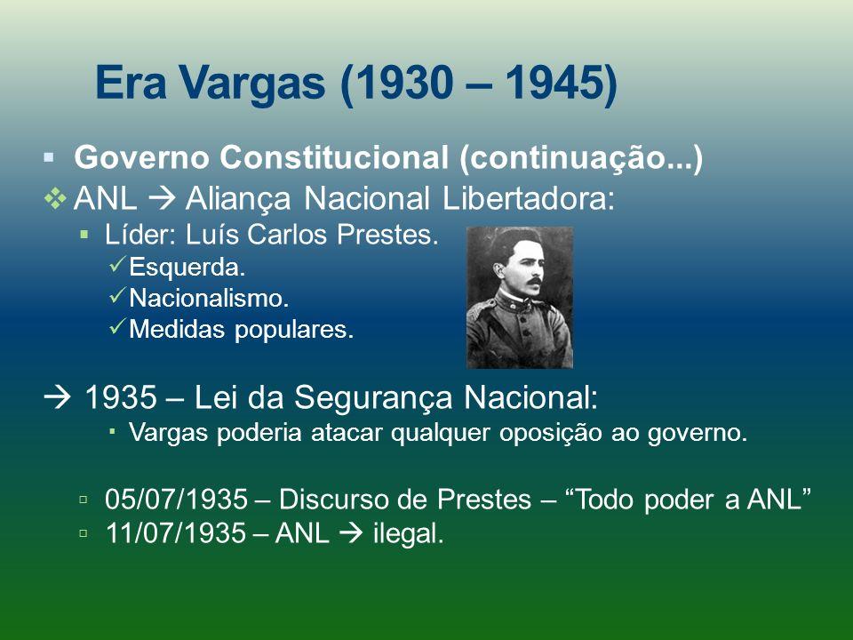 Era Vargas (1930 – 1945) Governo Constitucional (continuação...) ANL Aliança Nacional Libertadora: Líder: Luís Carlos Prestes. Esquerda. Nacionalismo.