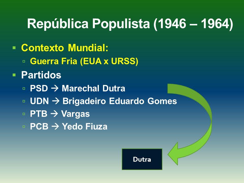 República Populista (1946 – 1964) Contexto Mundial: Guerra Fria (EUA x URSS) Partidos PSD Marechal Dutra UDN Brigadeiro Eduardo Gomes PTB Vargas PCB Y