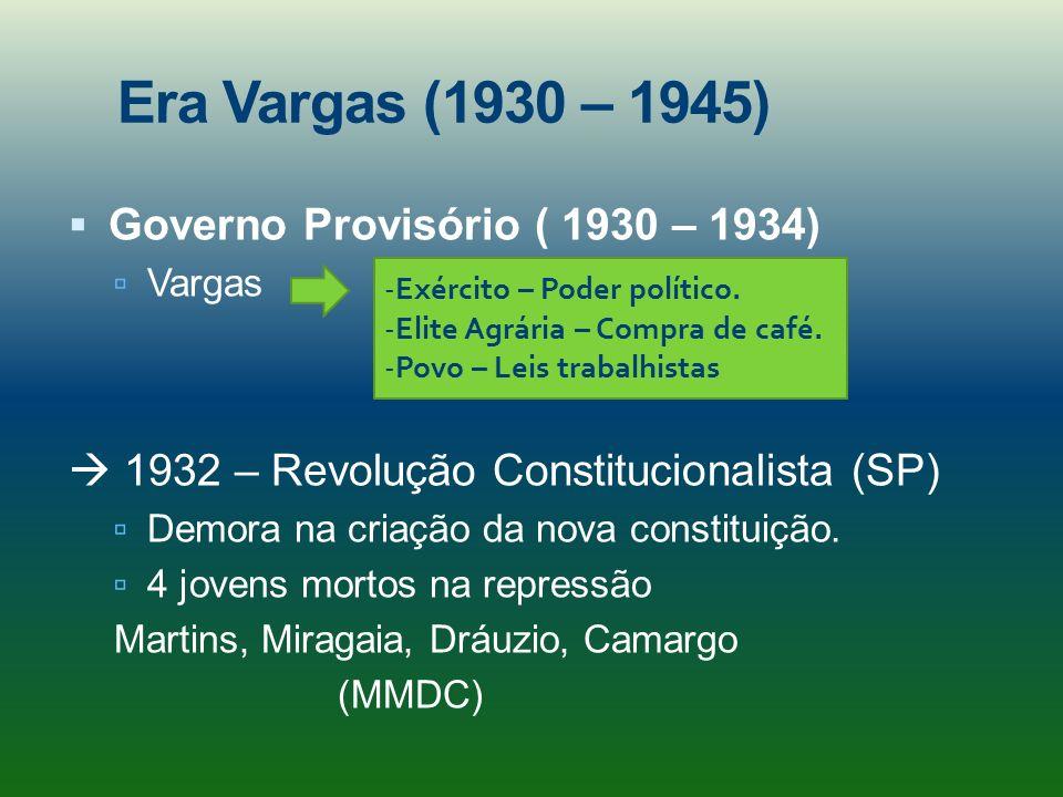 Era Vargas (1930 – 1945) Governo Provisório ( 1930 – 1934) Vargas 1932 – Revolução Constitucionalista (SP) Demora na criação da nova constituição. 4 j