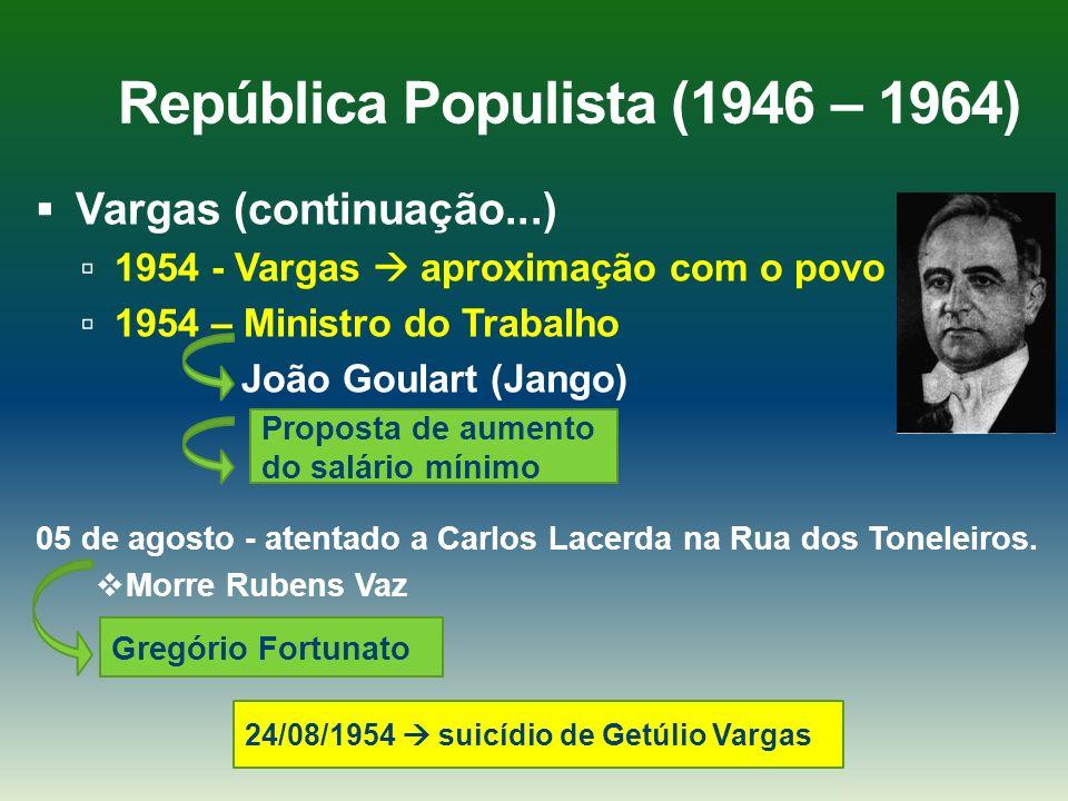 República Populista (1946 – 1964) Vargas (continuação...) 1954 - Vargas aproximação com o povo 1954 – Ministro do Trabalho João Goulart (Jango) 05 de