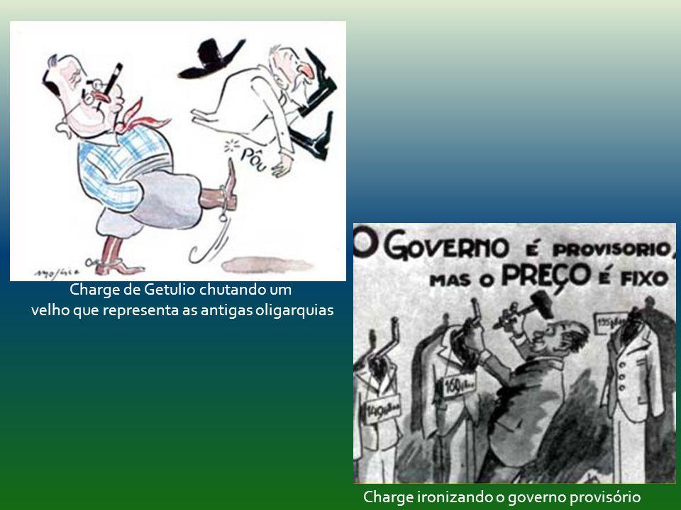 Charge de Getulio chutando um velho que representa as antigas oligarquias Charge ironizando o governo provisório