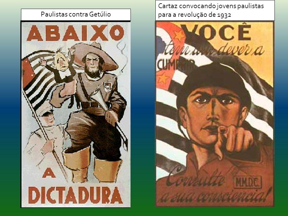 Cartaz convocando jovens paulistas para a revolução de 1932 Paulistas contra Getúlio