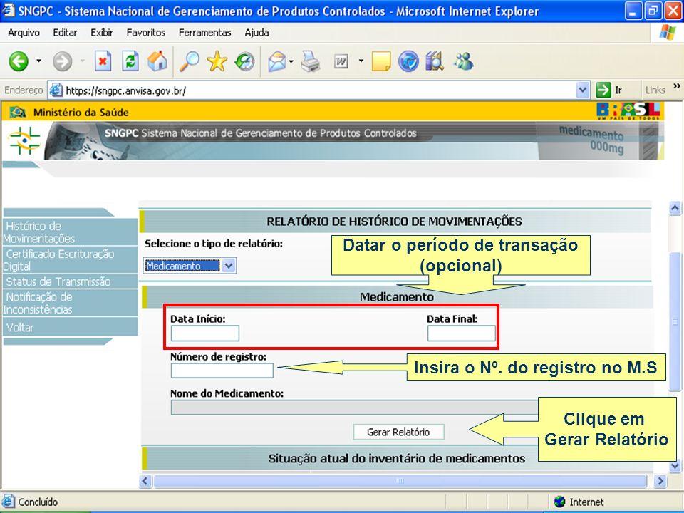 Datar o período de transação (opcional) Clique em Gerar Relatório Insira o Nº. do registro no M.S