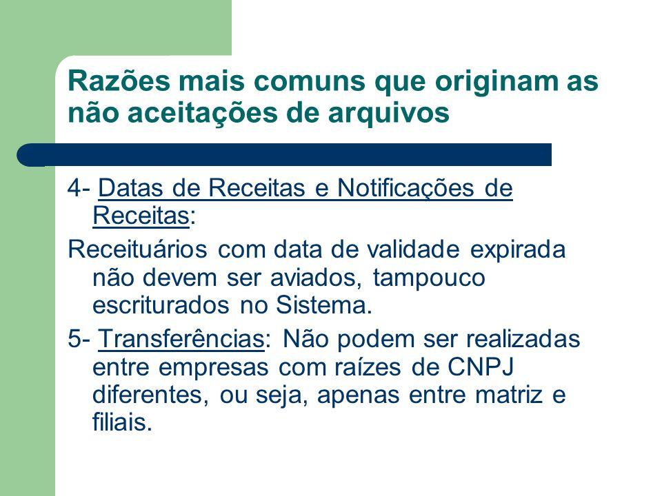 Razões mais comuns que originam as não aceitações de arquivos 4- Datas de Receitas e Notificações de Receitas: Receituários com data de validade expir