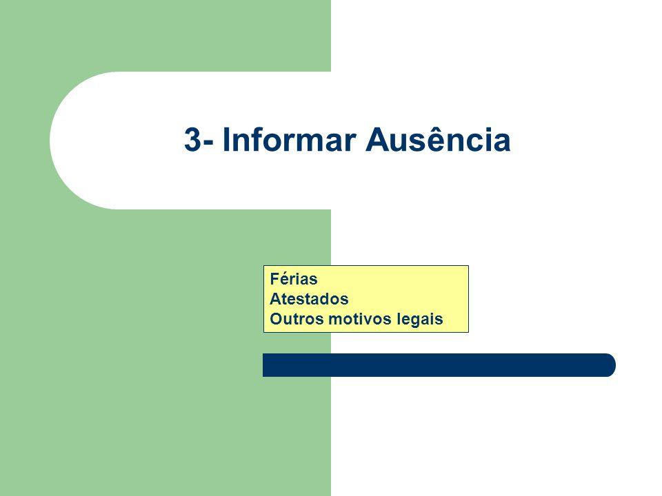 3- Informar Ausência Férias Atestados Outros motivos legais