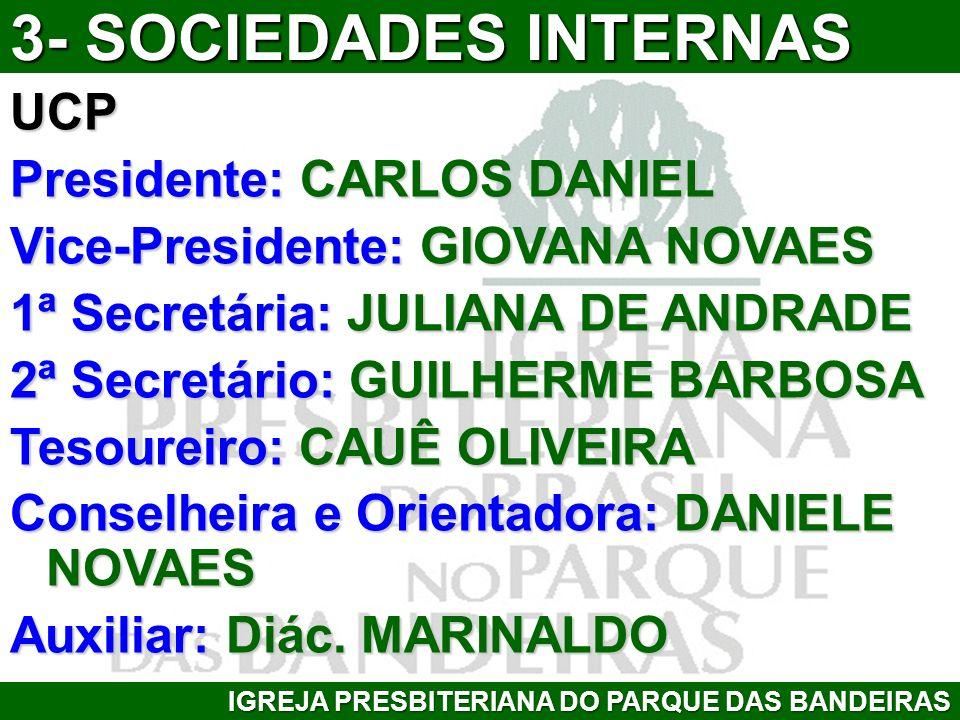 UCP Presidente: CARLOS DANIEL Vice-Presidente: GIOVANA NOVAES 1ª Secretária: JULIANA DE ANDRADE 2ª Secretário: GUILHERME BARBOSA Tesoureiro: CAUÊ OLIV
