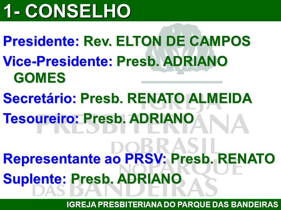 Presidente: Rev. ELTON DE CAMPOS Vice-Presidente: Presb. ADRIANO GOMES Secretário: Presb. RENATO ALMEIDA Tesoureiro: Presb. ADRIANO Representante ao P