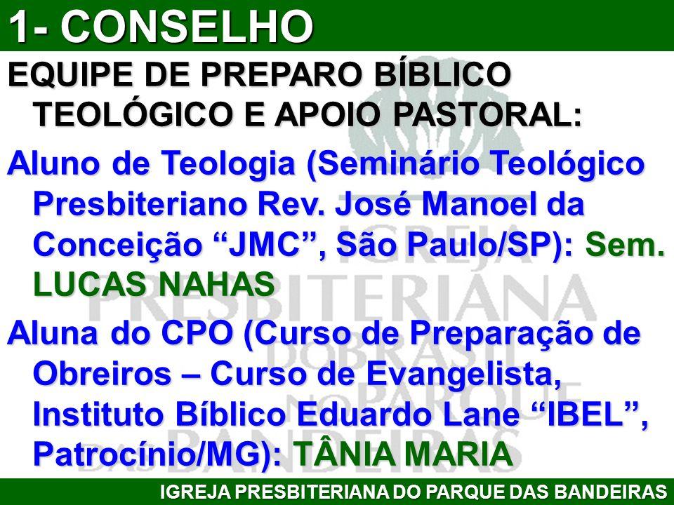 EQUIPE DE PREPARO BÍBLICO TEOLÓGICO E APOIO PASTORAL: Aluno de Teologia (Seminário Teológico Presbiteriano Rev. José Manoel da Conceição JMC, São Paul