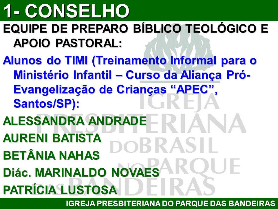 EQUIPE DE PREPARO BÍBLICO TEOLÓGICO E APOIO PASTORAL: Alunos do TIMI (Treinamento Informal para o Ministério Infantil – Curso da Aliança Pró- Evangeli
