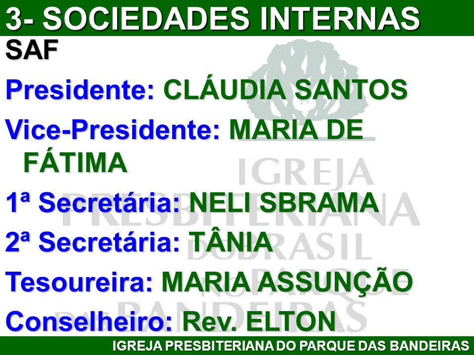 SAF Presidente: CLÁUDIA SANTOS Vice-Presidente: MARIA DE FÁTIMA 1ª Secretária: NELI SBRAMA 2ª Secretária: TÂNIA Tesoureira: MARIA ASSUNÇÃO Conselheiro