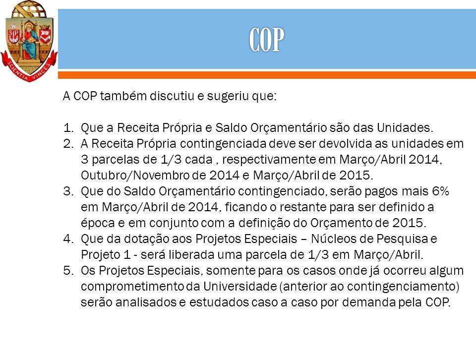A COP também discutiu e sugeriu que: 1.Que a Receita Própria e Saldo Orçamentário são das Unidades.