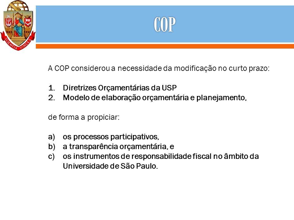 A COP considerou a necessidade da modificação no curto prazo: 1.Diretrizes Orçamentárias da USP 2.Modelo de elaboração orçamentária e planejamento, de forma a propiciar: a)os processos participativos, b)a transparência orçamentária, e c)os instrumentos de responsabilidade fiscal no âmbito da Universidade de São Paulo.